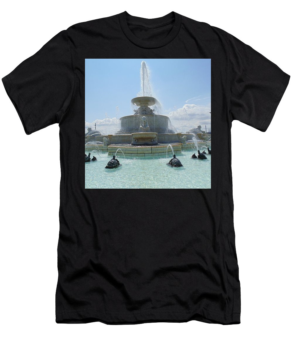 Scott Fountain Men's T-Shirt (Athletic Fit) featuring the photograph The Scott Fountain On Belle Isle by Dotti Hannum