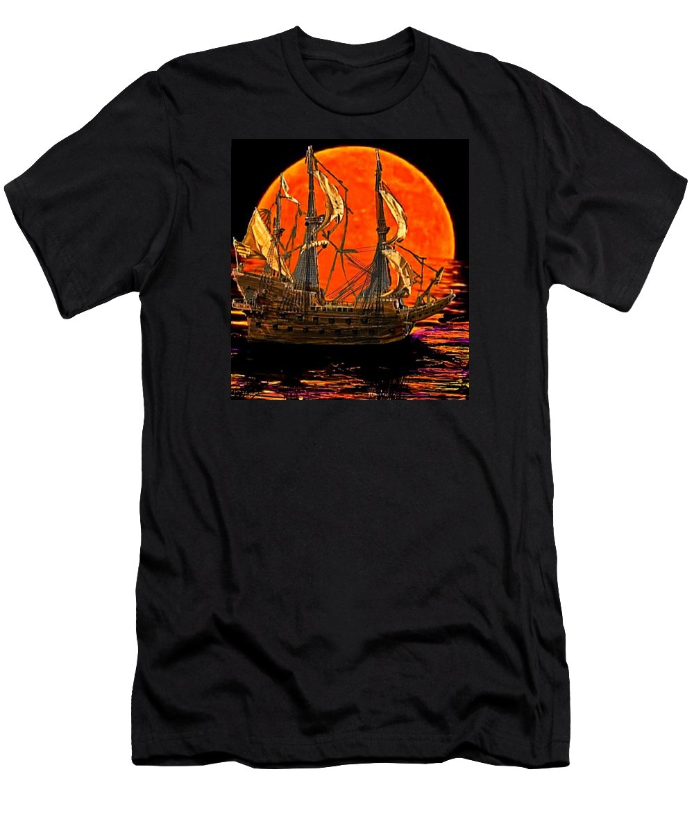 Spanish Gallion Men's T-Shirt (Athletic Fit) featuring the painting The Sea Of Broken Dreams by Larry E Lamb