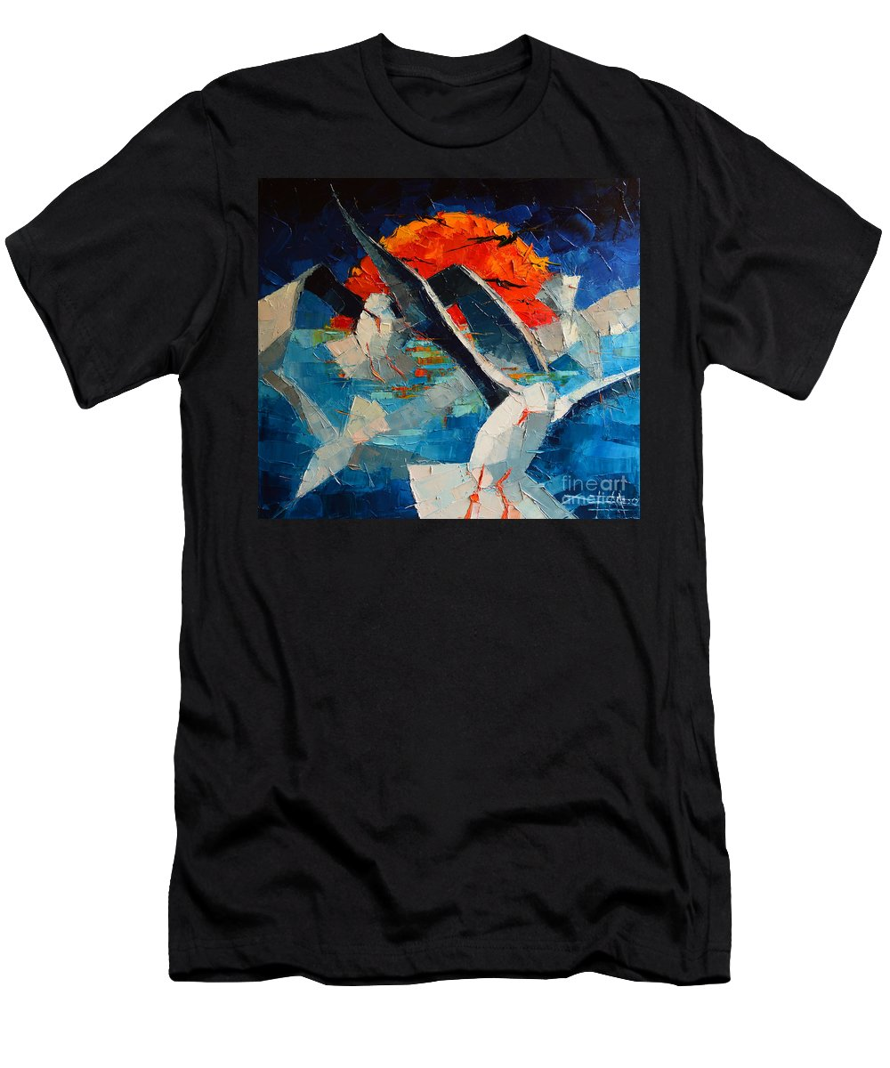 The Seagulls Men's T-Shirt (Athletic Fit) featuring the painting The Seagulls 2 by Mona Edulesco