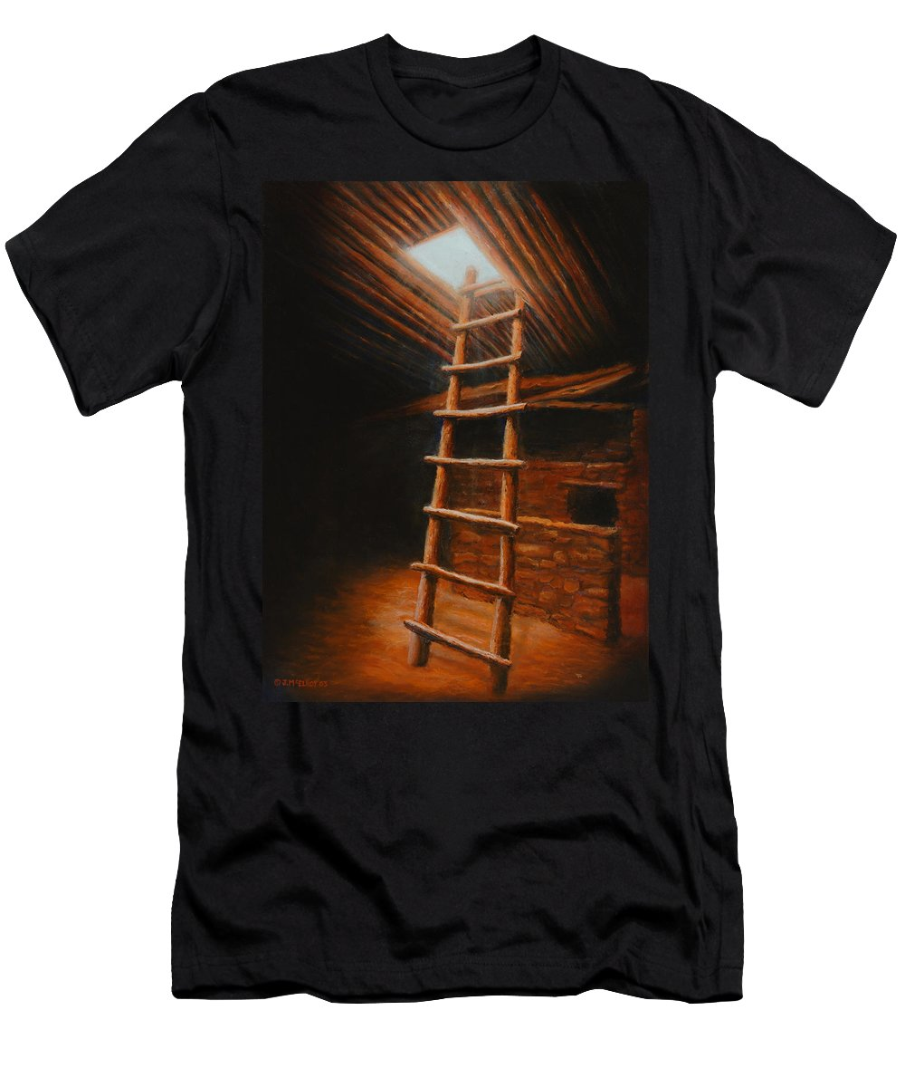 Kiva Men's T-Shirt (Athletic Fit) featuring the painting The Second World by Jerry McElroy