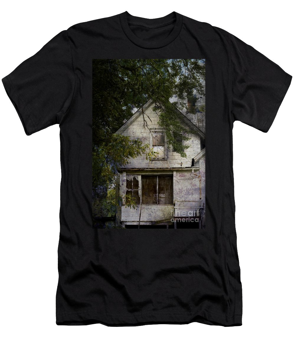 Abandoned; Home; House; Old; Farmhouse; Spooky; Peeling Paint; Derelict; Neglected; Sidewalk; Creepy; Dark; Entrance; Stairs; Door; Haunted; Porch; Eerie; Scary; Ruin; Mood; Gloomy; Rural Men's T-Shirt (Athletic Fit) featuring the photograph The Shadow Of Our Memories by Margie Hurwich
