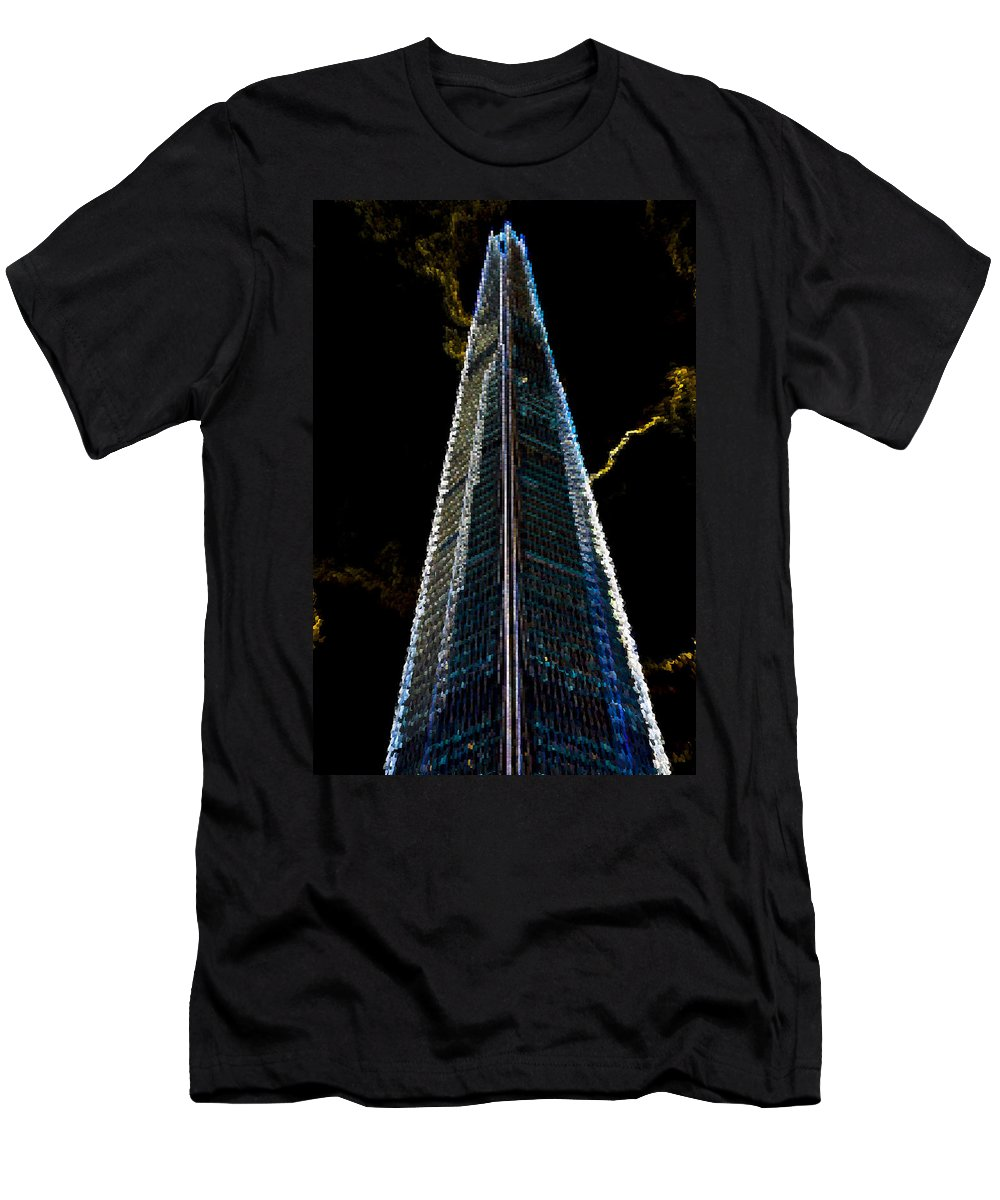 Shard Men's T-Shirt (Athletic Fit) featuring the digital art The Shard London Art by David Pyatt