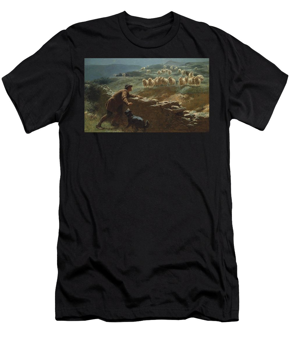 Briton Riviere Men's T-Shirt (Athletic Fit) featuring the painting The Sheepstealer by Briton Riviere
