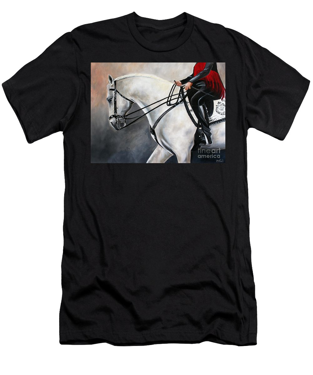 Horse Men's T-Shirt (Athletic Fit) featuring the painting The Show Horse Stride by Debbie Hart