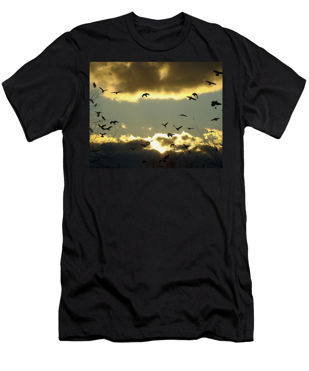 Clouds Men's T-Shirt (Athletic Fit) featuring the photograph The Sky Opened by Gothicrow Images