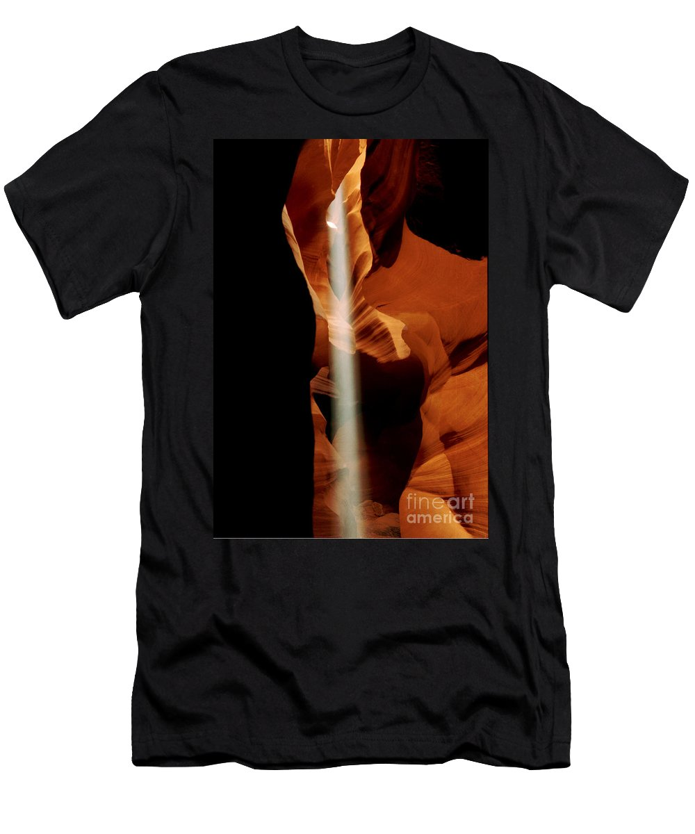 Antelope Canyon Men's T-Shirt (Athletic Fit) featuring the photograph The Source by Kathy McClure
