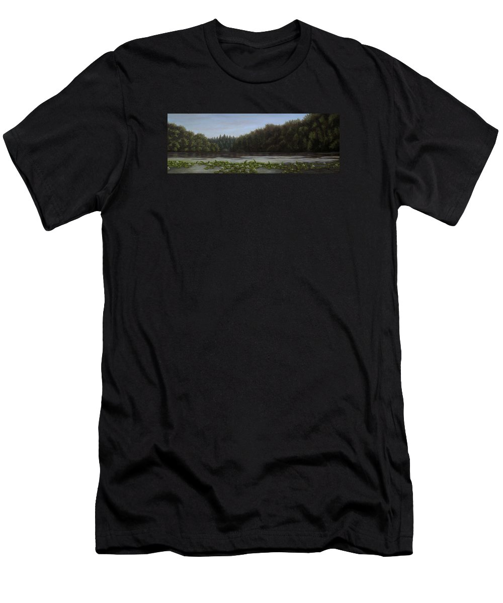 Landscape Men's T-Shirt (Athletic Fit) featuring the painting The Spring On The Lake by Andreja Dujnic