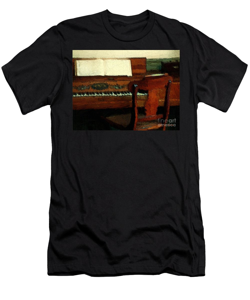 Colonial Men's T-Shirt (Athletic Fit) featuring the painting The Square Piano by RC DeWinter