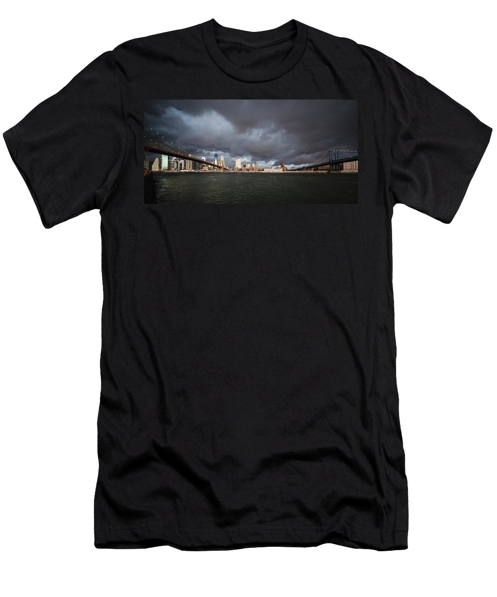 Manhattan Men's T-Shirt (Athletic Fit) featuring the photograph The Storm Over Manhattan by Alex Potemkin