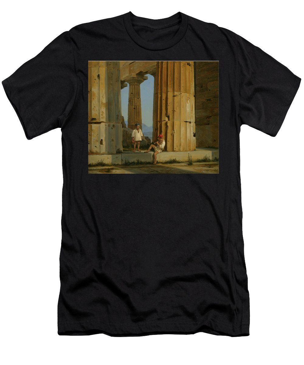 Constantin Hansen Men's T-Shirt (Athletic Fit) featuring the painting The Temple Of Poseidon. Paestum by Constantin Hansen