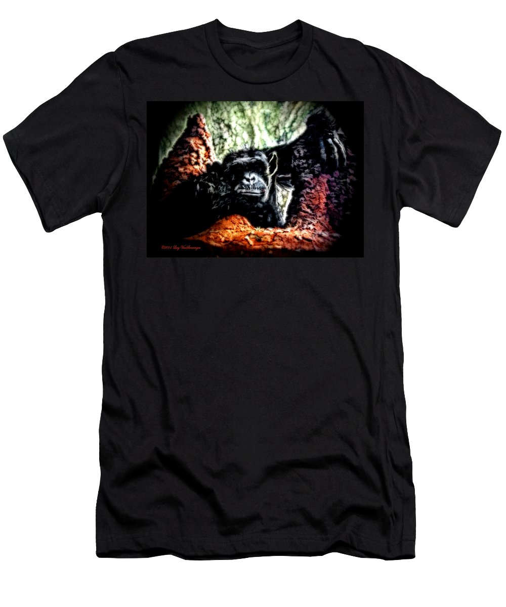 Zoo Men's T-Shirt (Athletic Fit) featuring the photograph The Thinker by Lucy VanSwearingen
