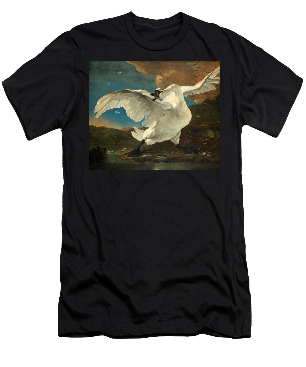 Jan Asselijn Men's T-Shirt (Athletic Fit) featuring the painting The Threatened Swan by Jan Asselijn