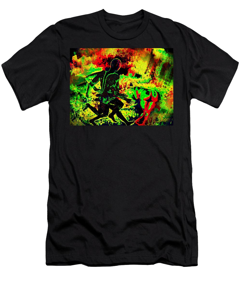 Genio Men's T-Shirt (Athletic Fit) featuring the mixed media The Thunder Of Rock 'n' Roll by Genio GgXpress