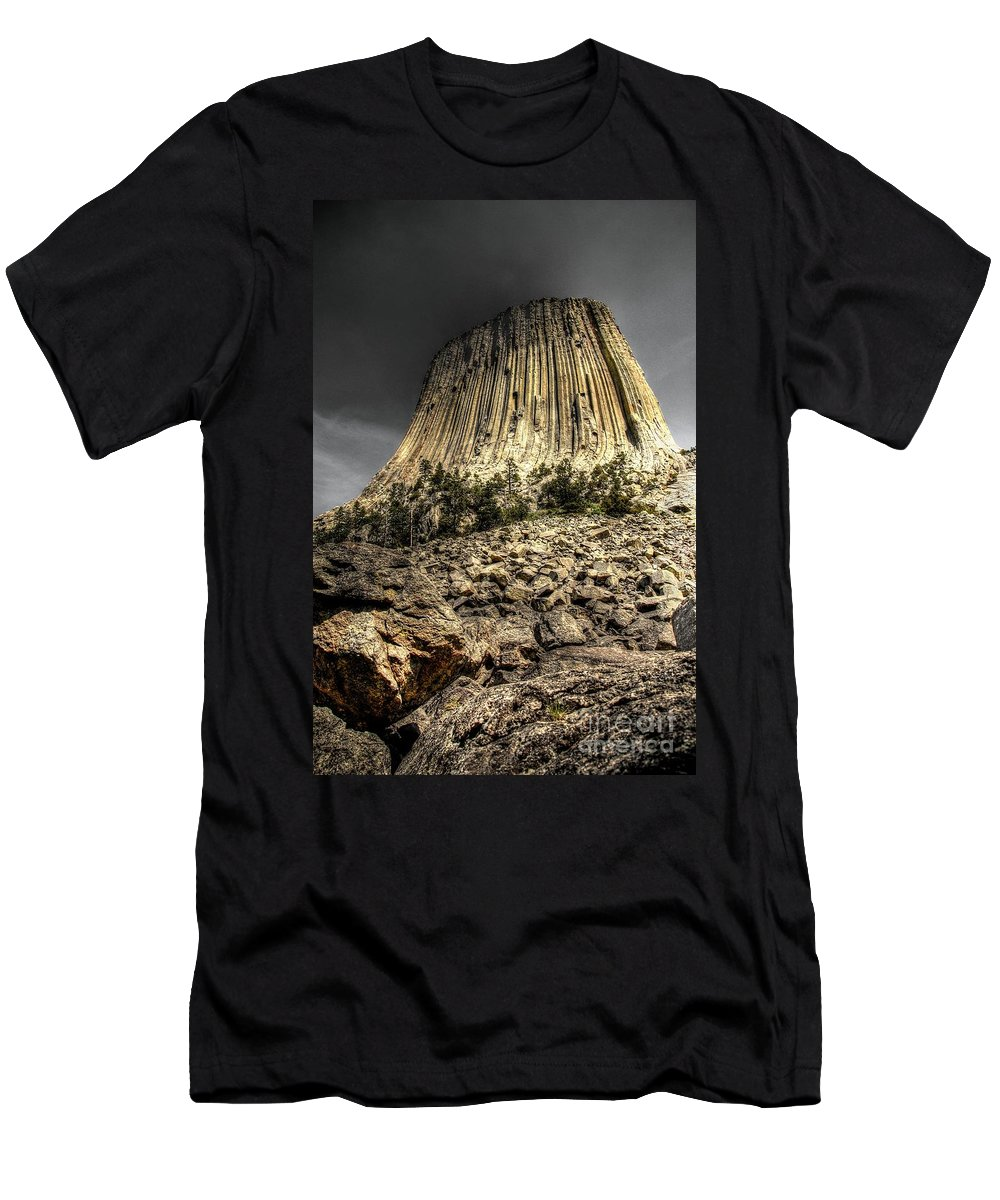 Devils Tower Men's T-Shirt (Athletic Fit) featuring the photograph The Tower Of Boulders by Anthony Wilkening