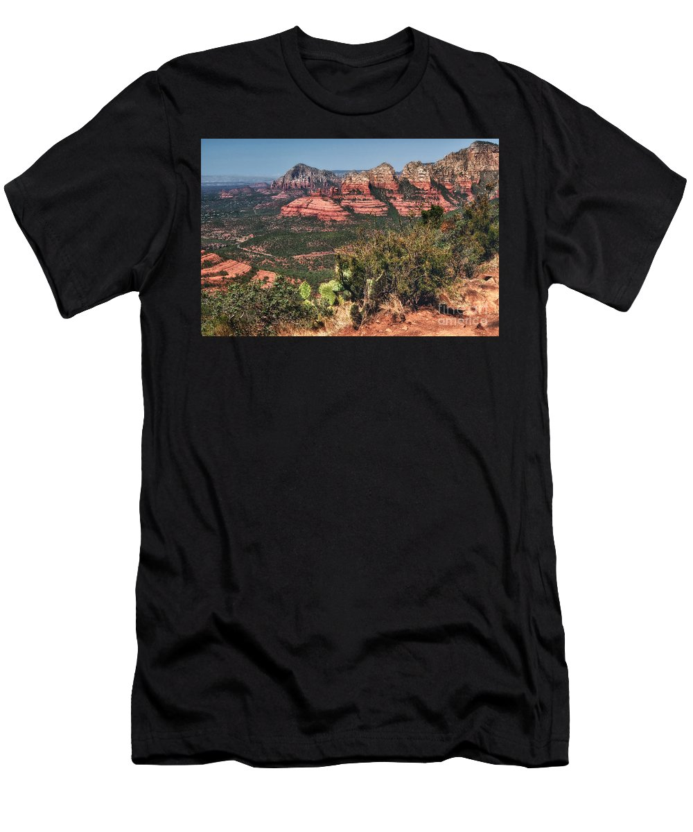 Sedona Men's T-Shirt (Athletic Fit) featuring the photograph The Valley Below by Claudia Kuhn