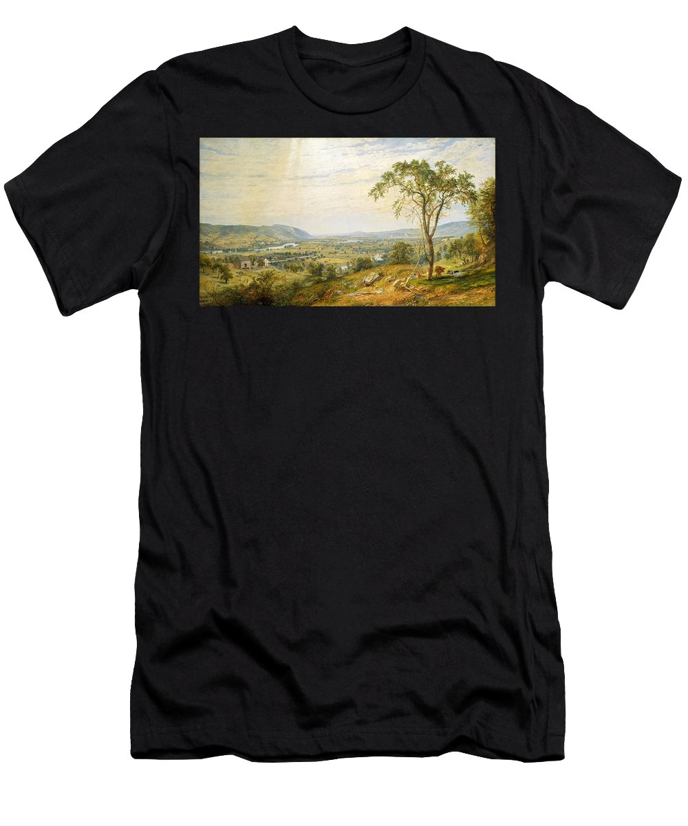 Jasper Francis Cropsey Men's T-Shirt (Athletic Fit) featuring the painting The Valley Of Wyoming by Jasper Francis Cropsey