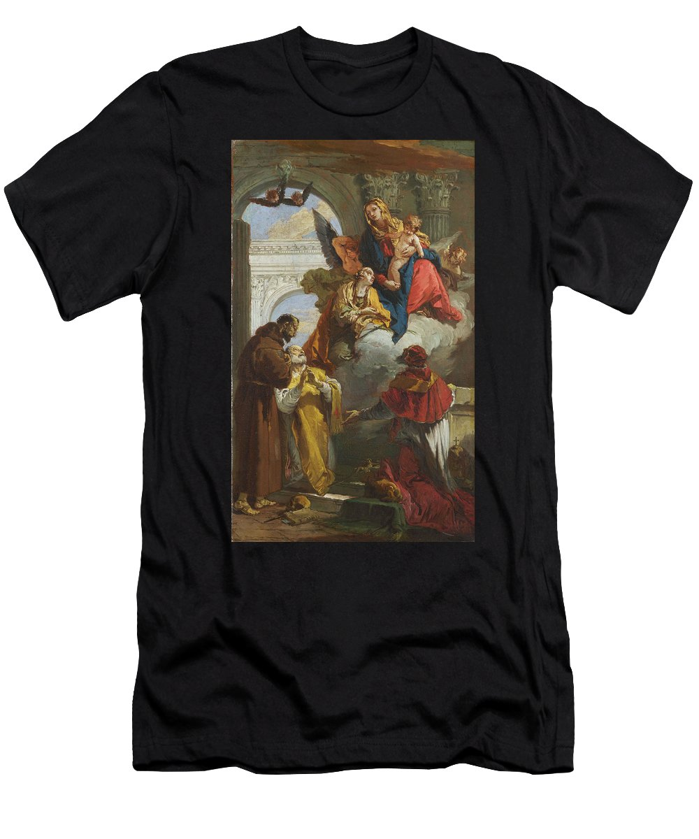 Giovanni Battista Tiepolo Men's T-Shirt (Athletic Fit) featuring the painting The Virgin And Child Appearing To A Group Of Saints by Giovanni Battista Tiepolo