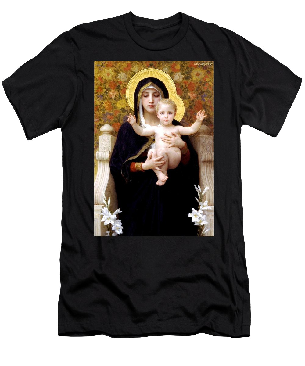 The Virgin Of The Lilies Men's T-Shirt (Athletic Fit) featuring the digital art The Virgin Of The Lilies by William Bouguereau