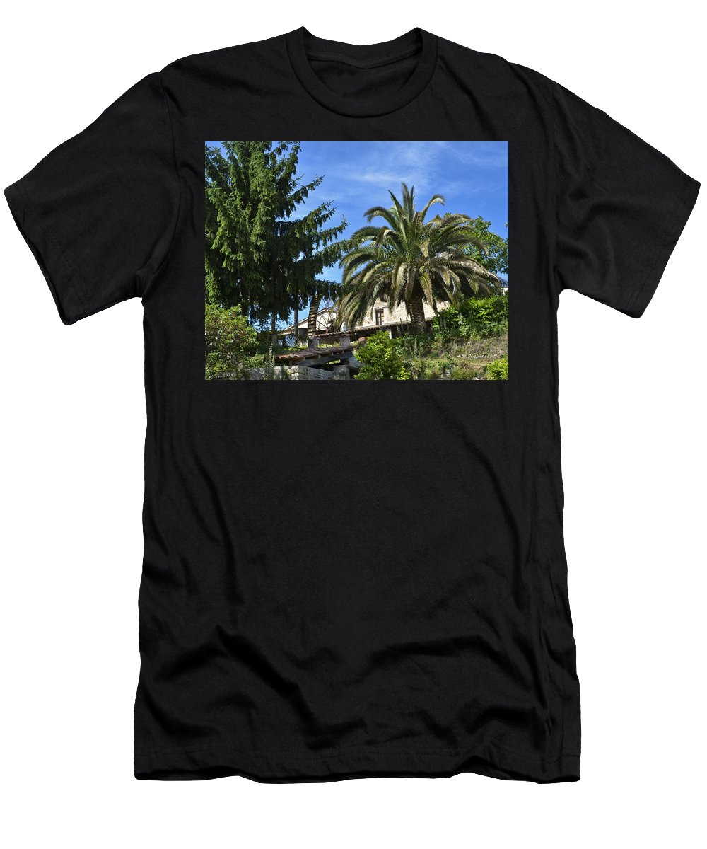 Olive Mill Men's T-Shirt (Athletic Fit) featuring the photograph The Water Wheel by Allen Sheffield