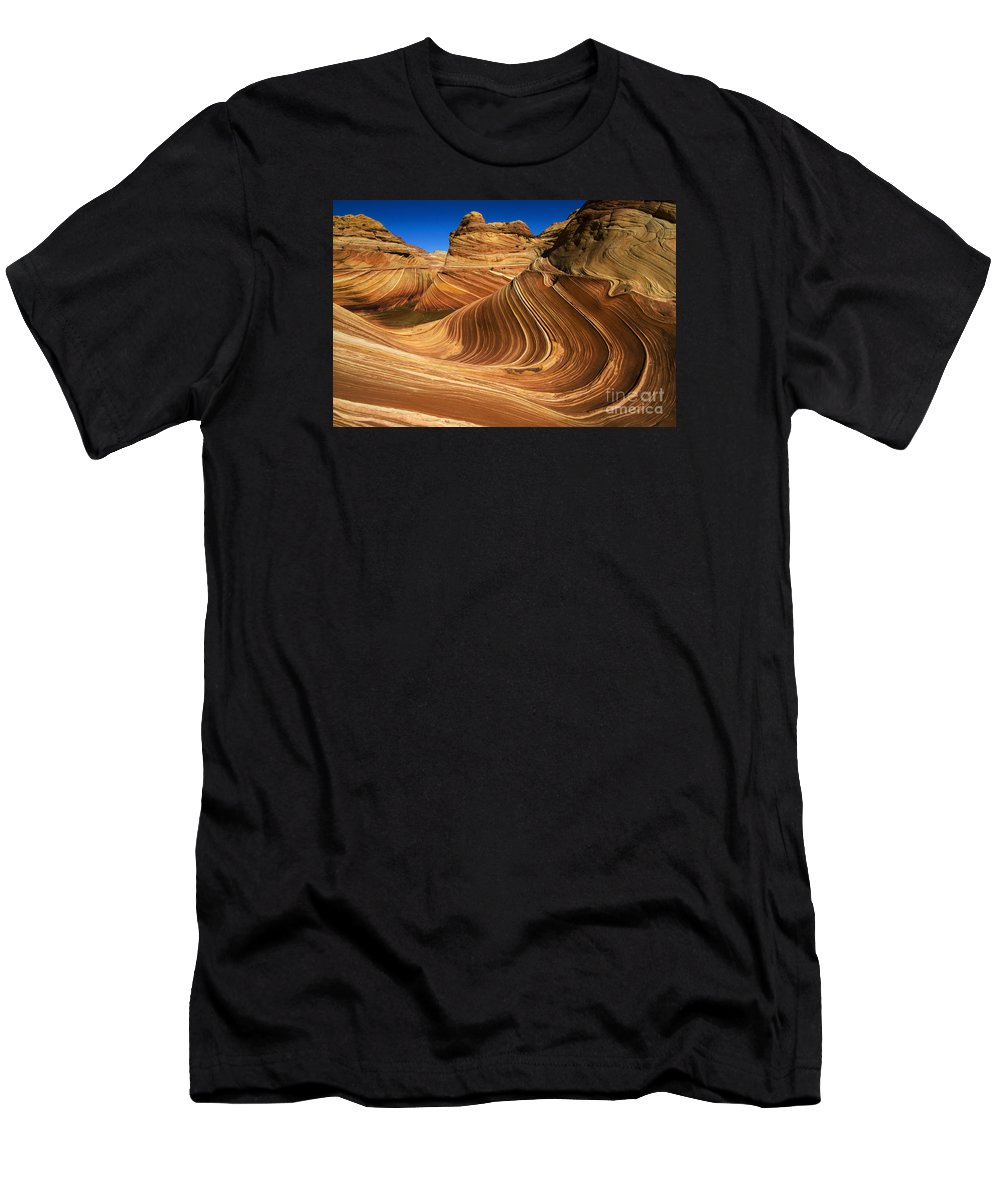 The Wave Men's T-Shirt (Athletic Fit) featuring the photograph The Wave Wonder In Stone by Bob Christopher
