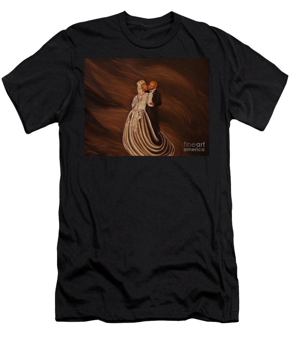 Wedding Men's T-Shirt (Athletic Fit) featuring the painting The Wedding Kiss by Wayne Cantrell