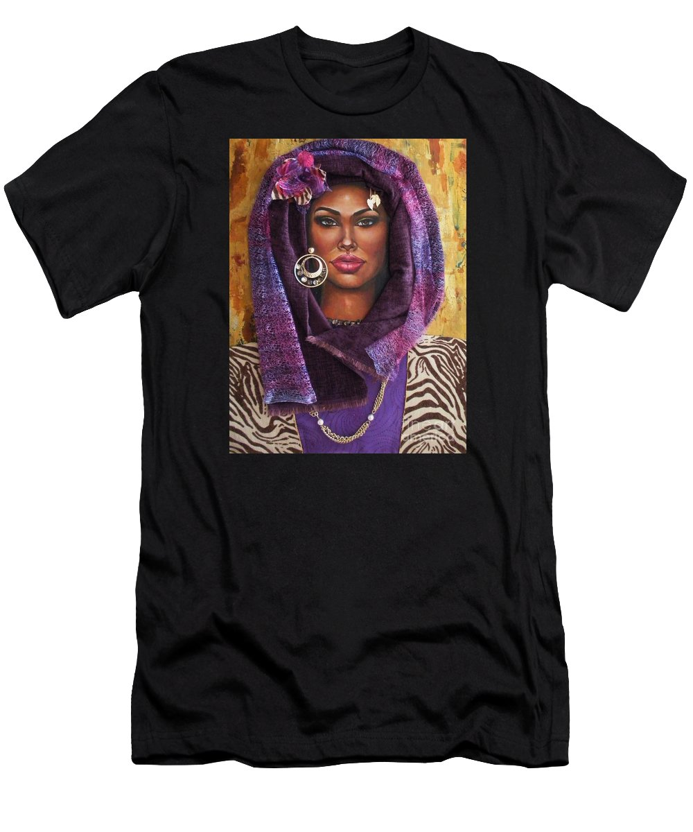 Eyes Men's T-Shirt (Athletic Fit) featuring the painting The Whole Story Behind Violet by Alga Washington
