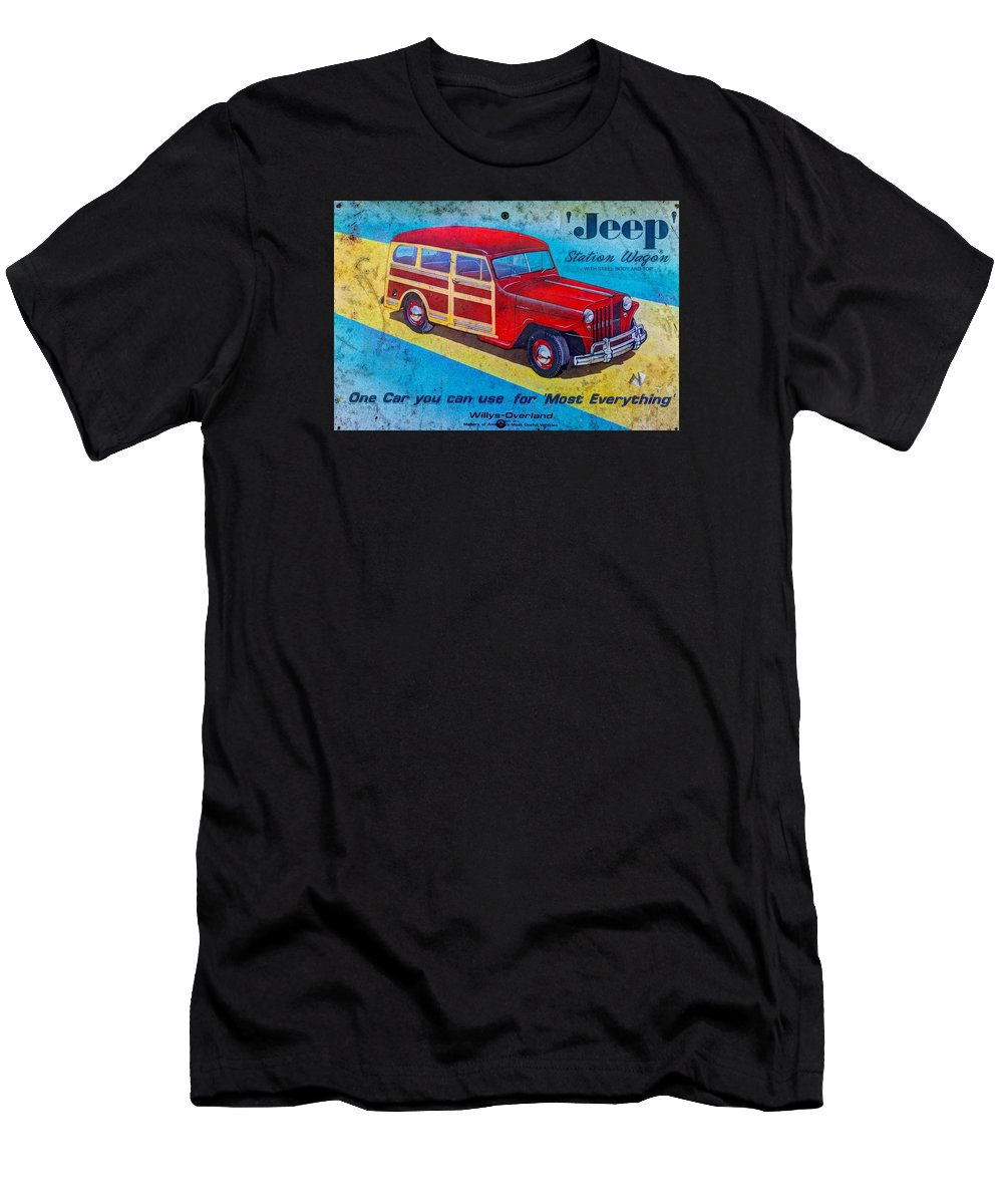 Willys Men's T-Shirt (Athletic Fit) featuring the photograph The Willys - Overland Jeep Station Wagon by Michael Mazaika