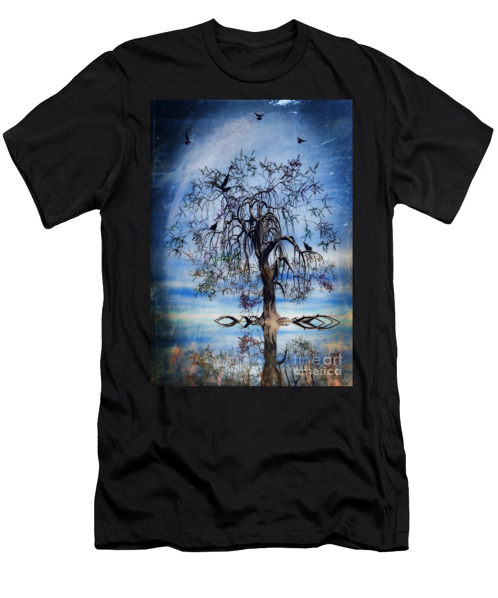 Wishing Tree Men's T-Shirt (Athletic Fit) featuring the painting The Wishing Tree by John Edwards