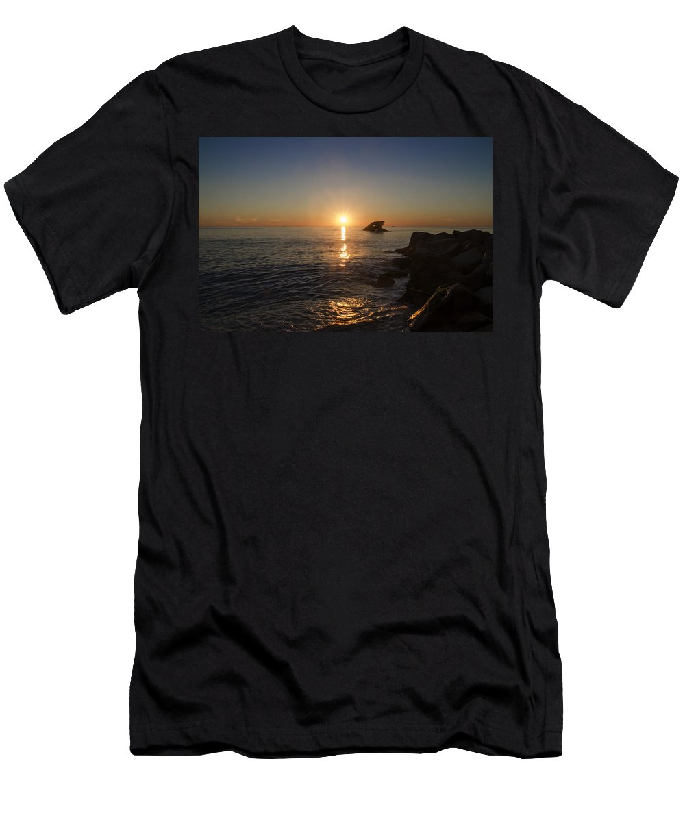 Wreck Men's T-Shirt (Athletic Fit) featuring the photograph The Wreck Of The Atlantus - Cape May New Jersey by Bill Cannon