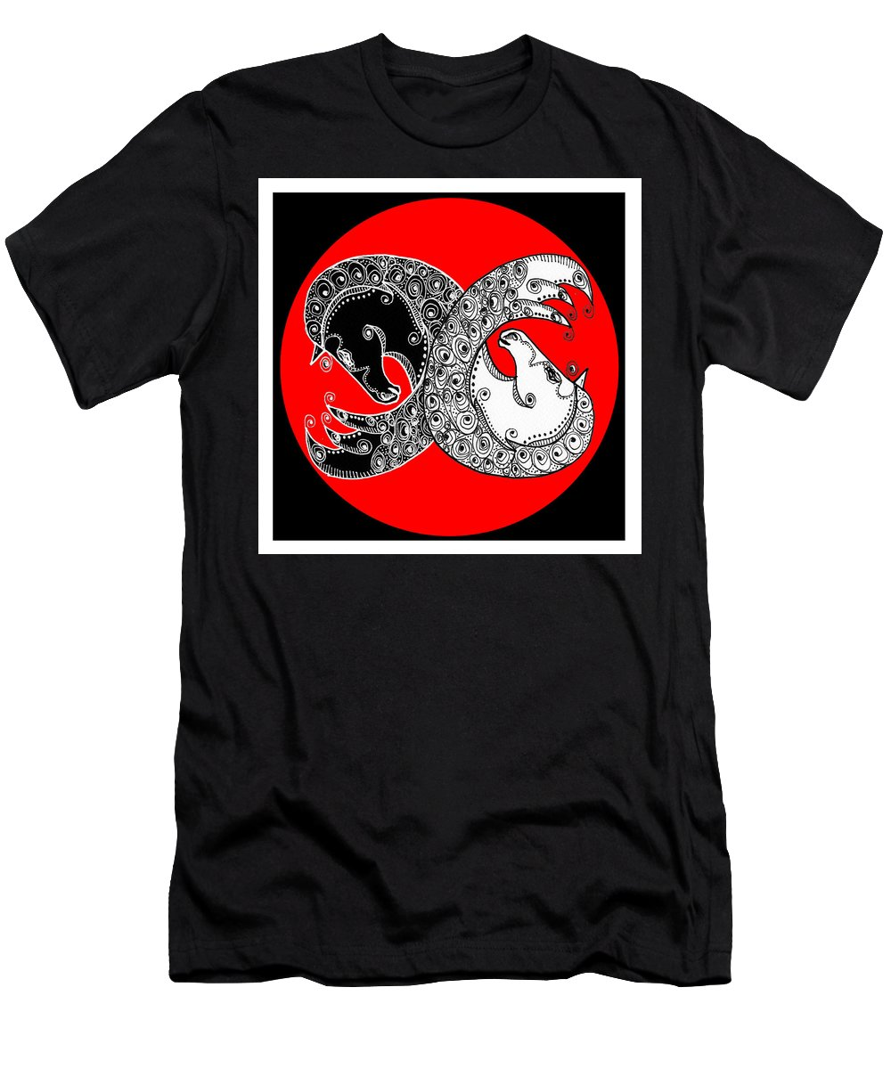 Yin Men's T-Shirt (Athletic Fit) featuring the digital art The Zen Of Horses by Shannon Story