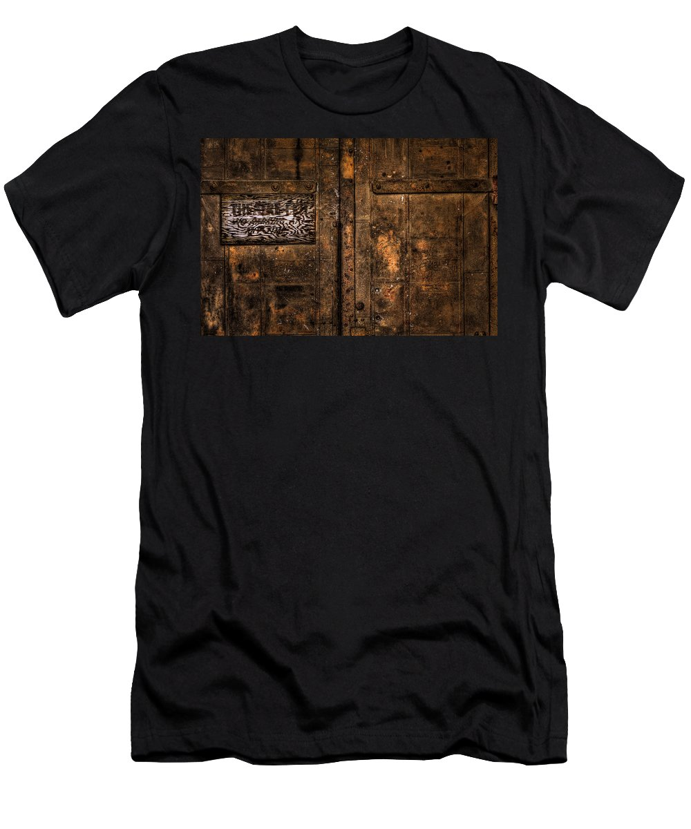 Sioux Falls Men's T-Shirt (Athletic Fit) featuring the photograph Theater Exit by Mike Oistad
