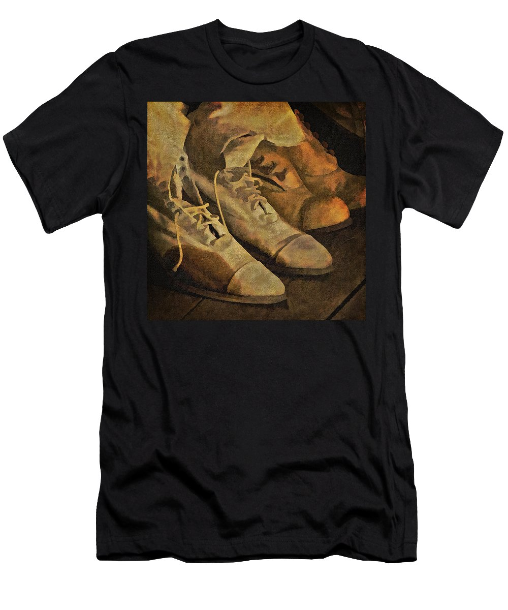 Vintage Ladies Shoes Men's T-Shirt (Athletic Fit) featuring the photograph These Boots Are Made For Walking by Priscilla Burgers