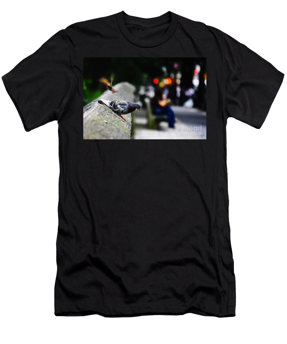 Pigeon Men's T-Shirt (Athletic Fit) featuring the photograph This City Belongs To Us by Nishanth Gopinathan