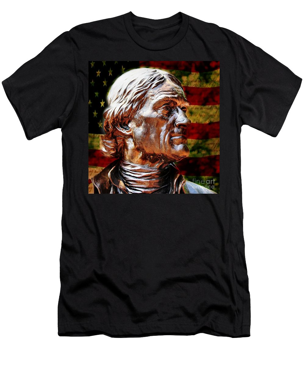 Thomas Jefferson Men's T-Shirt (Athletic Fit) featuring the photograph Thomas Jefferson Statue by Judy Palkimas