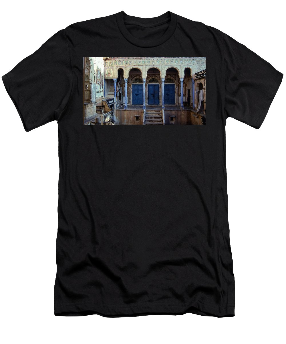India Men's T-Shirt (Athletic Fit) featuring the photograph Three Blue Doors by Cathy Anderson