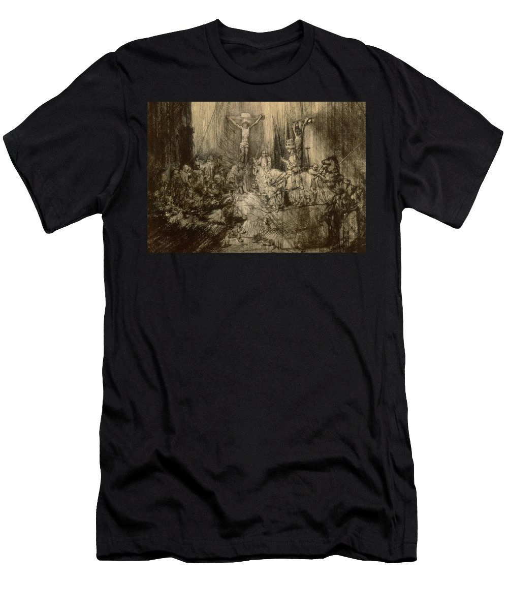 Christ Men's T-Shirt (Athletic Fit) featuring the drawing Three Crucifixes by Rembrandt Harmenszoon van Rijn