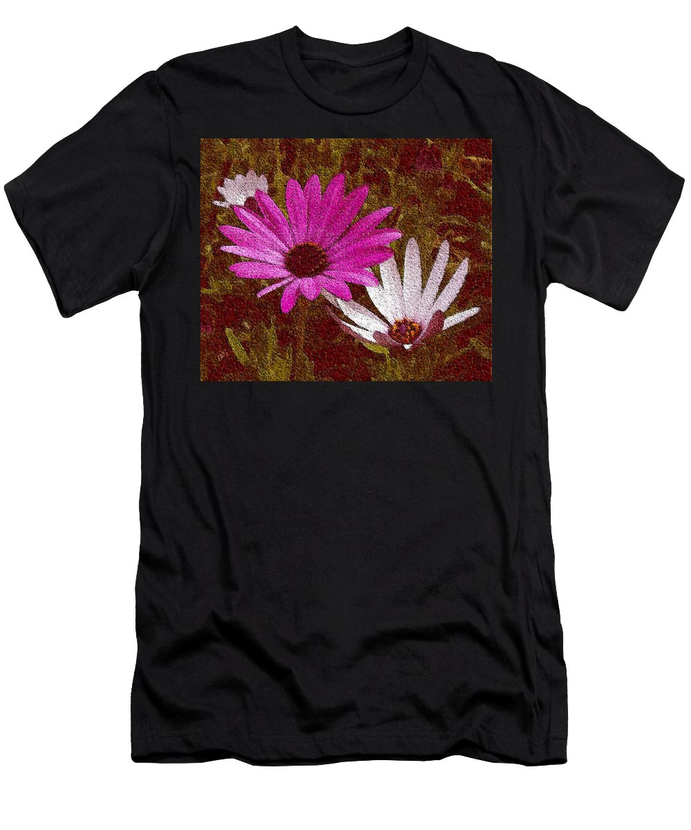 Daisies Men's T-Shirt (Athletic Fit) featuring the photograph Three Flowers On Maroon by Ben and Raisa Gertsberg