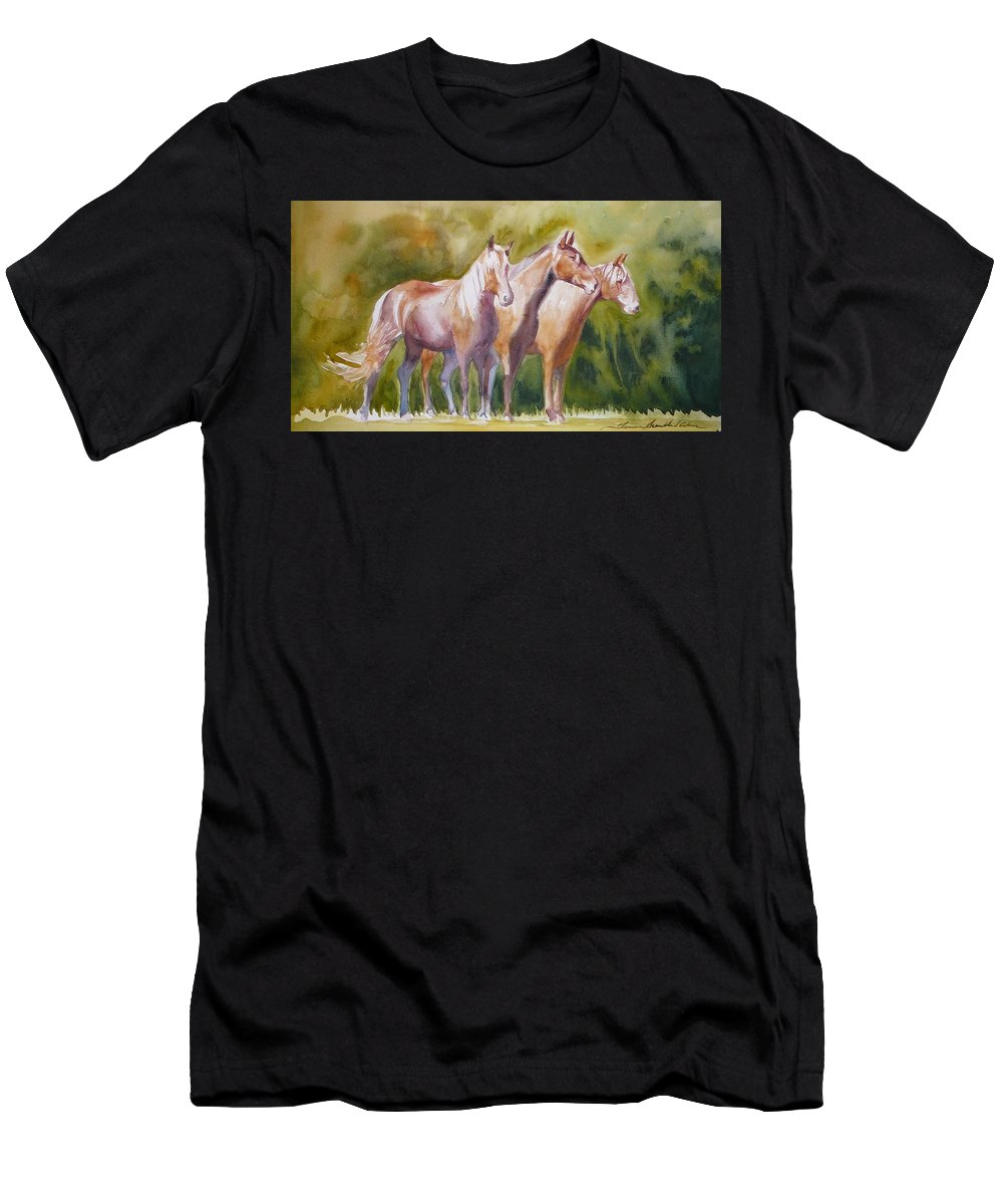 Horses Men's T-Shirt (Athletic Fit) featuring the painting Three Horses by Tamara Scantland Adams