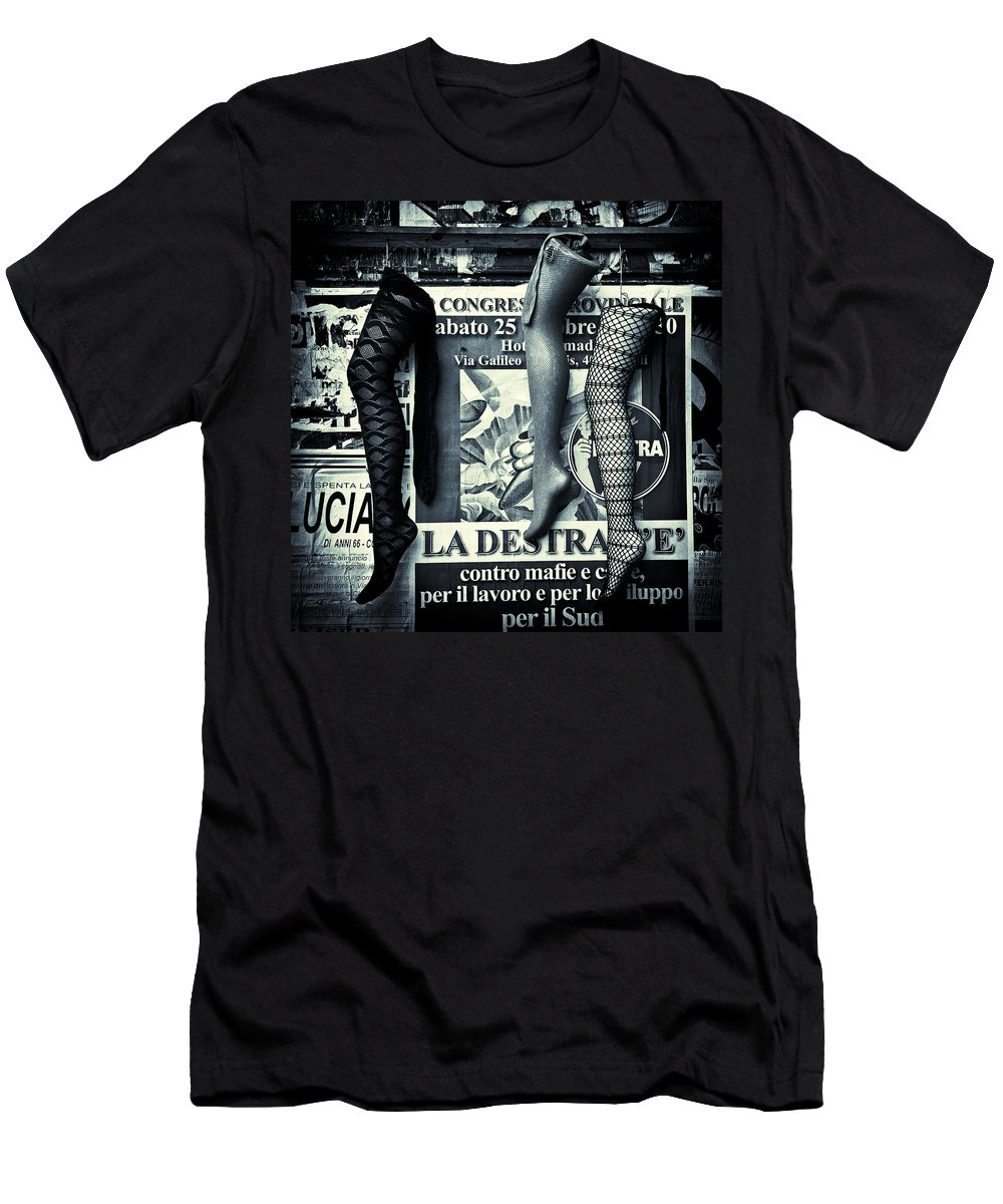 Mannequin Men's T-Shirt (Athletic Fit) featuring the photograph Three Mannequin Legs by Dave Bowman