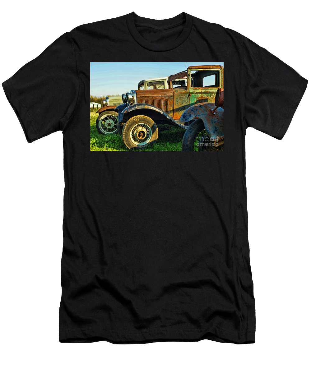 Old Cars Men's T-Shirt (Athletic Fit) featuring the photograph Three Old Fords by Randy Harris