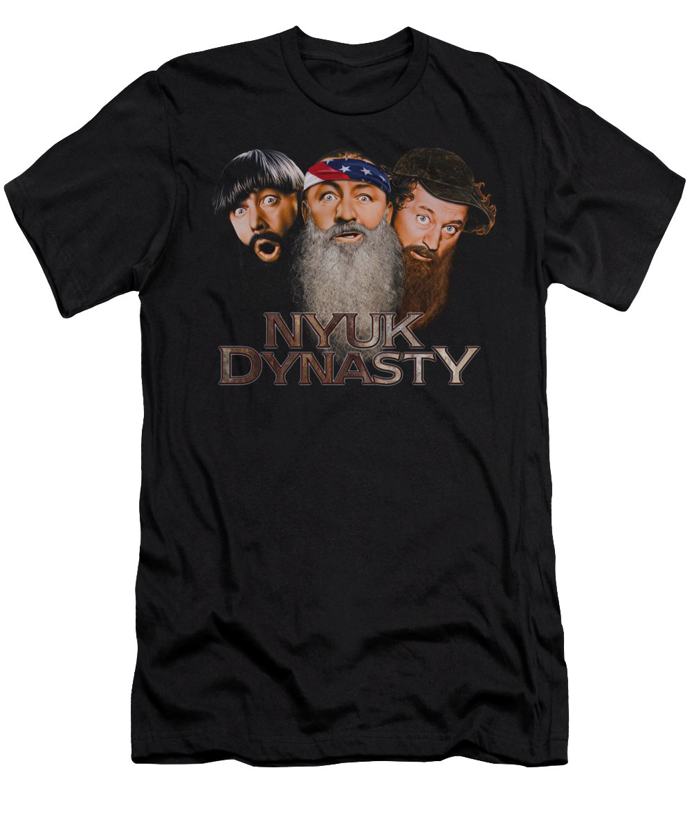 The Three Stooges T-Shirt featuring the digital art Three Stooges - Nyuk Dynasty 2 by Brand A
