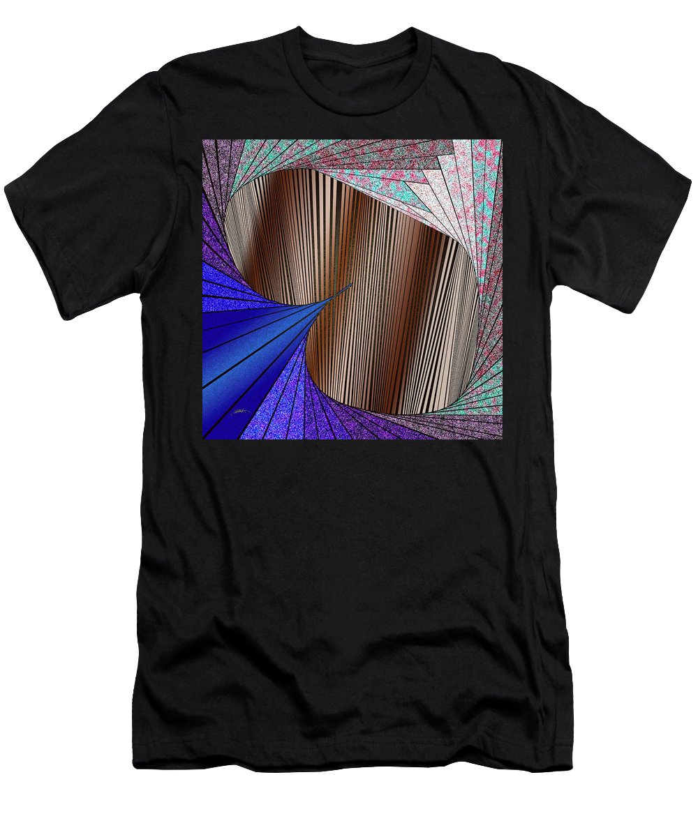 Virtual Shattered Glass Men's T-Shirt (Athletic Fit) featuring the painting Through The Curtain by Douglas Christian Larsen