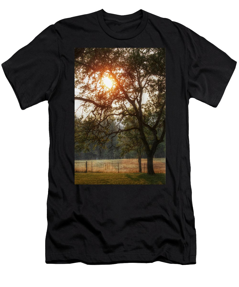 Sunset Men's T-Shirt (Athletic Fit) featuring the photograph Through The Trees by Melanie Lankford Photography