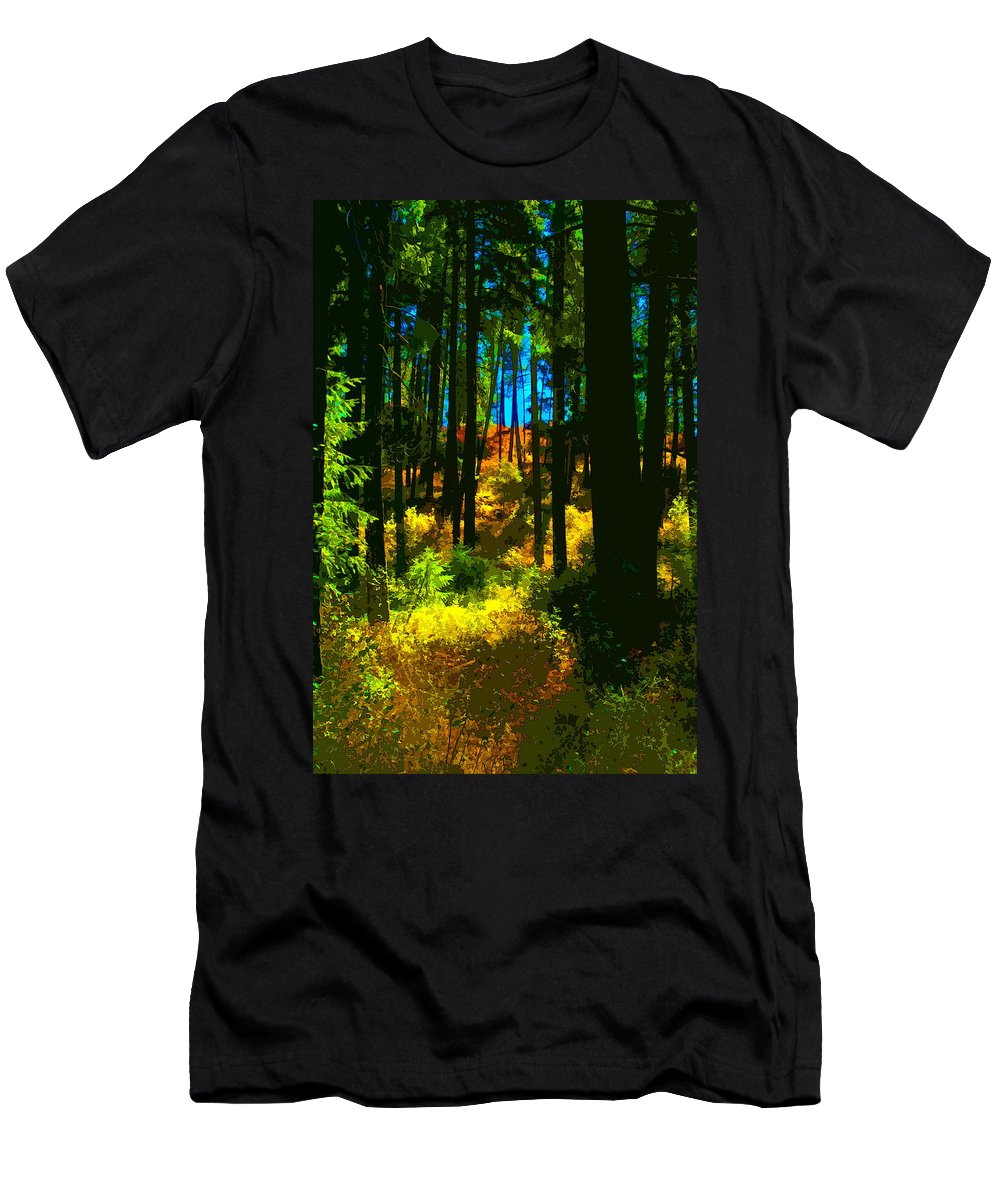 Trees Men's T-Shirt (Athletic Fit) featuring the photograph Through The Woods by Ben Upham III