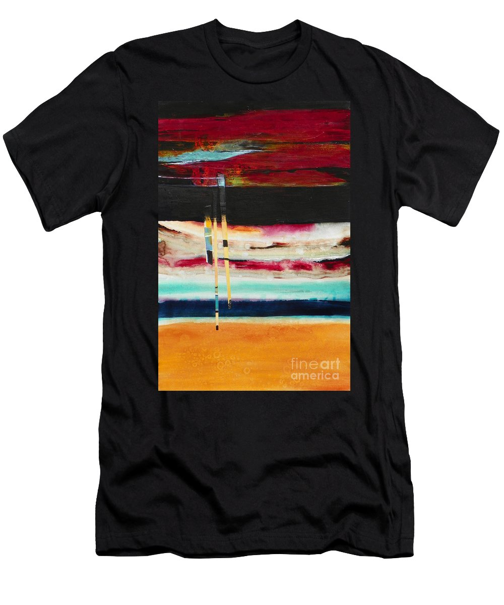 Abstract Expressionism Men's T-Shirt (Athletic Fit) featuring the painting Thru The Dark by Donna Frost