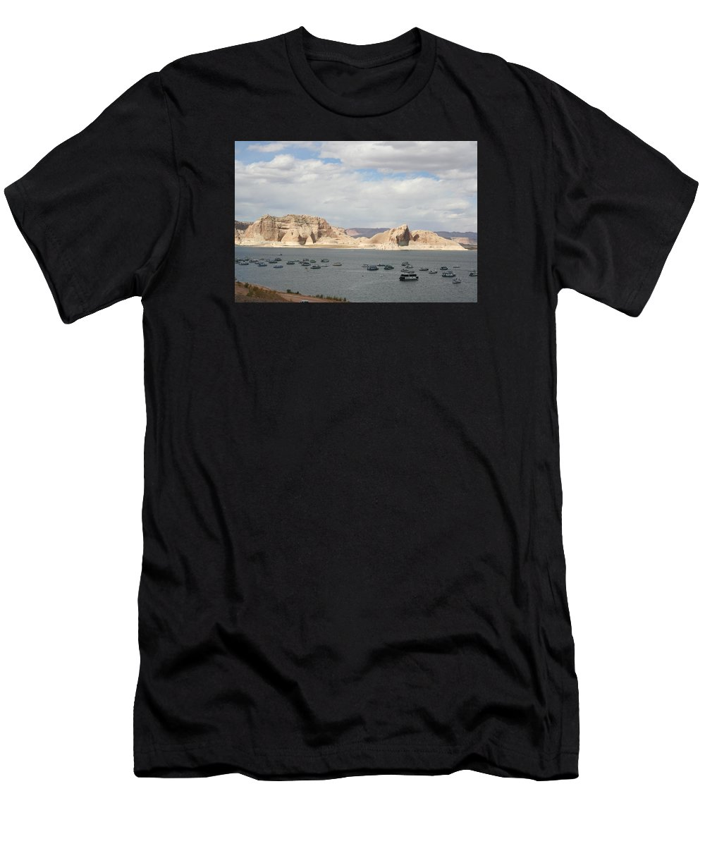 Lake Men's T-Shirt (Athletic Fit) featuring the photograph Thunderstorm Atmosphere Over Lake Powell by Christiane Schulze Art And Photography