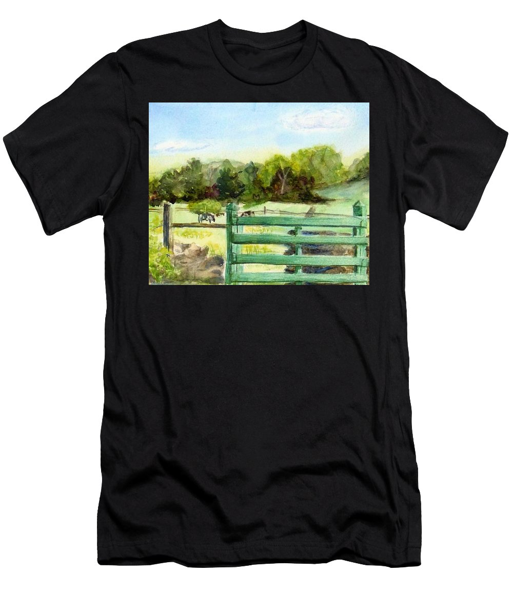 Watercolor Men's T-Shirt (Athletic Fit) featuring the painting Tiffany Farms East Gate by Katherine Berlin