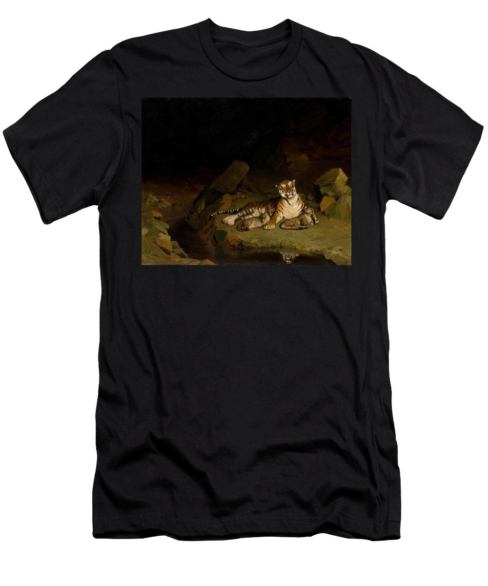 Jean-leon Gerome Men's T-Shirt (Athletic Fit) featuring the painting Tiger And Cubs by Jean-Leon Gerome