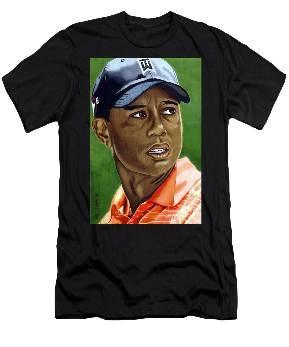 Golf Men's T-Shirt (Athletic Fit) featuring the drawing Tiger by Cory Still