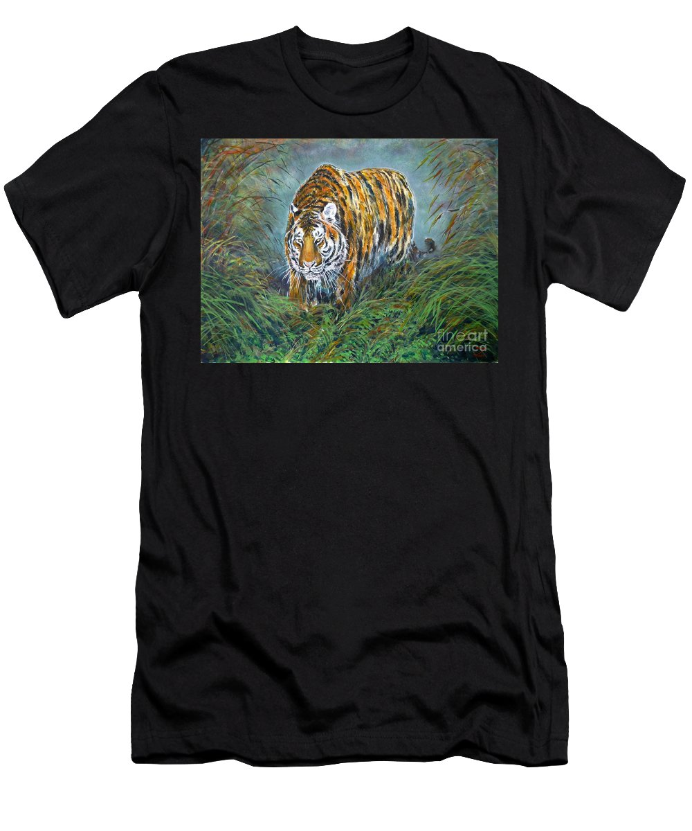 Tiger Men's T-Shirt (Athletic Fit) featuring the painting Tiger by Zaira Dzhaubaeva